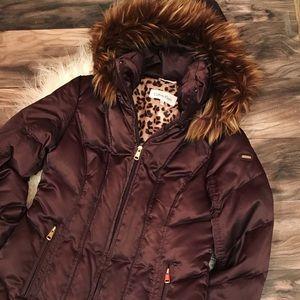 New! Gorgeous Calvin Klein Down Puffer Coat w Fur